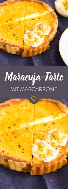 Exotische Maracuja trifft auf nussigen Mürbeteig - die sonnengelbe Tarte wickelt dich mit fruchtigem Geschmack und feiner Mascarpone-Creme um den Finger.