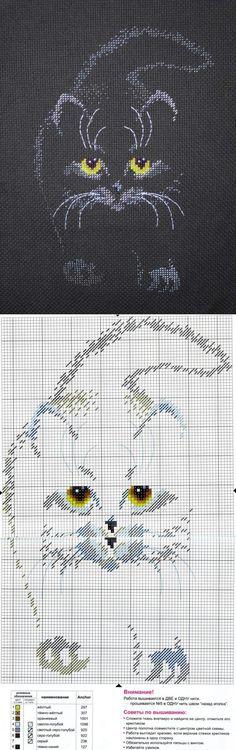 Контурный котейка крестиком. Схема | Вышивка | Постила