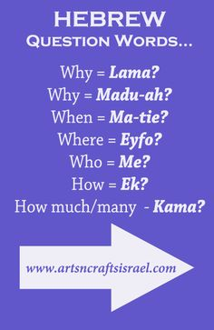 Hebrew Question Words #UsefulPhrases #Hebrew #Israel www.artsncraftsisrael.com