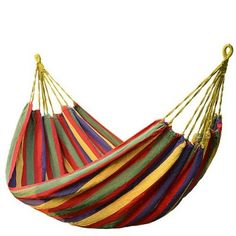 FDSHIP Cotton Striped Foldable Hammock (for Single Person) / Hanging Bed for Camping & Outdoor Activities cm x 80 cm) - Red Outdoor Hammock, Hammock Swing, Hammocks, Indoor Outdoor, Camping Furniture, Outdoor Furniture, Outdoor Decor, Camping Cot, Camping Hammock