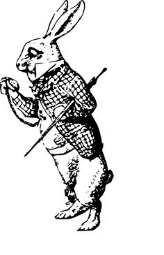 white rabbit tattoo stencil