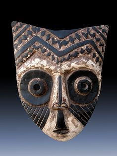 Mask from the Kuba people of DR Congo | Wood, kaolin and pigment,  See too the following site for additional African mask images and information: http://www.zyama.com/index.htm