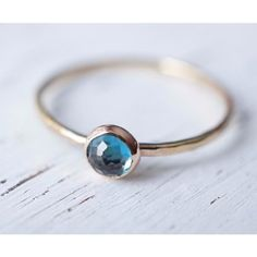 London Blue Topaz Ring in 14k Gold-Ring-LUXURING