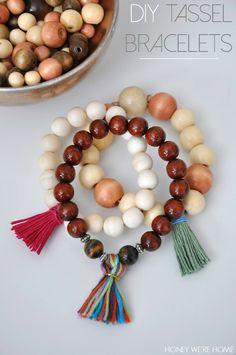 Honey We're Home: DIY Wooden Tassel Bracelets & Necklace