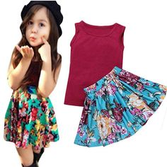 Baby Girls Summer Clothing Sets Sleeveless Tops+Floral Ruffles Skirt Outfits. Material: Cotton Blend. Style:fashion floral print,elastic waist,girls 2pcs summer clothing. Suitable for ages 1-5 years baby girl. Occasion:Playing;Casual Wearing;Photo Outfit;Family Party;Birthday;Daily. Package include:1x baby girl sleeveless tops,1x floral skirt.