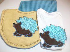 Handmade Baby  Boy Gift Set  Hedgehog Baby Gift  by PeaPodLilFrogs