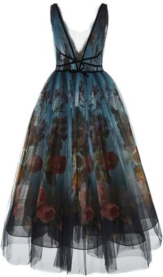 Marchesa Floral Ombre V Neck Dress