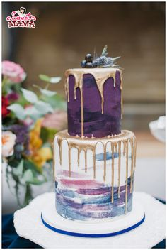 Blue And Gold Wedding Cake By Sweetmama.