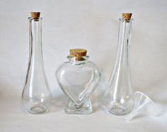 Small Personalized Heart Shaped Vase Wedding Unity Sand Ceremony Collection Set of 3 Glass Vases