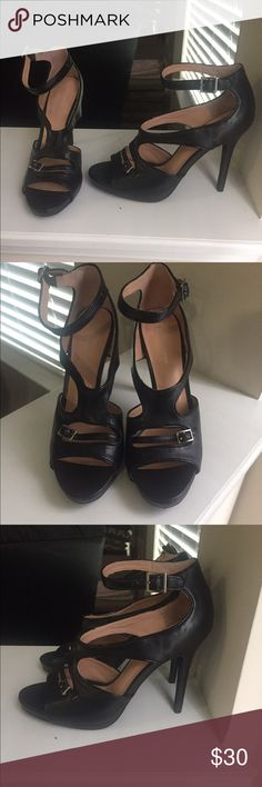 Brand New BCBG Black Strappy Heels Never been worn BCBG black strappy heels! Very comfortable! BCBGeneration Shoes Heels