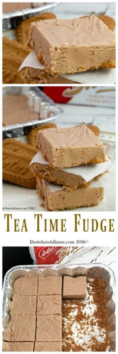 Tea Time Fudge combines a few of my favorite things. Peanut Butter, Chocolate and Bischoff Cookies to make a melt in your mouth, one of a kind fudge. Delicious Cookie Recipes, Fudge Recipes, Candy Recipes, Bar Recipes, Homemade Fudge, Homemade Candies, New Dessert Recipe, Dessert Recipes, Deserts