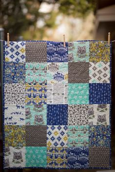 Baby Quilt Baby Bedding Modern Baby Quilt Forest Fables