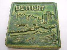 """Estate Collector Detroit Pewabic Tile Detroit Scene  4"""" inches Square"""