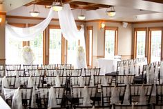 Elegant and soft drapery rentals compliment our chiavari chairs. The memory foam cushions on the chairs work so well with the drapery accents.