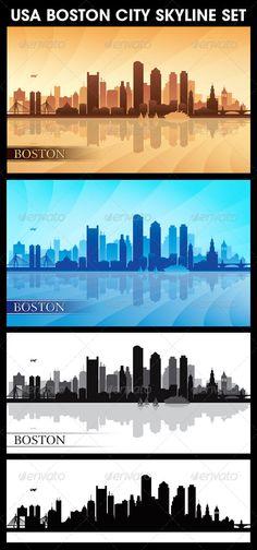 Boston USA City Skyline Silhouettes Set  #GraphicRiver         Boston city skyline