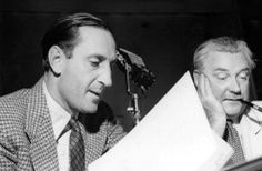 Basil Rathbone and Nigel Bruce reviewing their radio scripts. The two starred in The New Adventures of Sherlock Holmes from 1939 to 1946. After Rathbone left the series, Bruce continued as Watson for the 1946-47 season with Tom Conway assuming the role of Holmes.