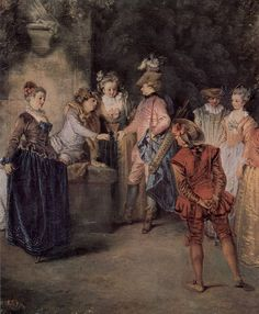 Canvas Art Love in the French Theather. Jean Antoine Watteau, French Paintings, Oil Painting Reproductions, France, Hand Painting Art, 18th Century, Pop Art, Canvas Art, Scene