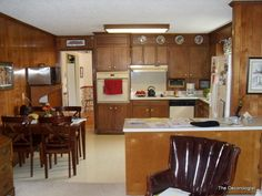 The Decorologist shows a before and after of a living room and kitchen after painting wood paneling. Paint your wood paneling, change your life! Kitchen Redo, Kitchen Remodel, Kitchen Ideas, Ugly Kitchen, Home Renovation, Home Remodeling, Painting Wood Paneling, Painting Cabinets, Paneling Painted