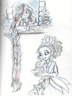 Rapunzel and Tiana by sharpie91.deviantart.com on @deviantART