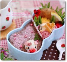 バレンタイン ぶたちゃん上から ♥ Bento
