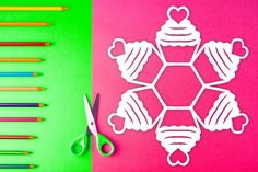 Easy-to-follow paper snowflake pattern with steps on how to fold & cut out a snowflake that looks like a cupcake! $1 PDF Download to print out at home and create a cute, one-of-kind paper snowflake. Perfect for arts & crafts, holiday decorations, homeschool art lessons, gifts, table decor, and more. #snowflake #papersnowflake #papersnowflakes #snowflakes #pattern #DIY #Christmas #xmas #snowflakepattern #papersnowflakepattern #pattern #template #cupcake Paper Snowflake Template, Paper Snowflake Patterns, Paper Snowflakes, Paper Cupcake, Print And Cut, Art Lessons, Arts And Crafts, Templates, Table Decorations