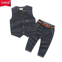 5b30ca2bb45d9 Yeni Varış Erkek Bebek Giysileri Setleri Ekose Beyefendi Suit Bebek Yürüyor  Boys Yelek + Pantolon Çocuk