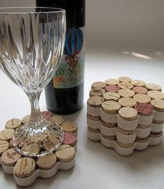 Honeycomb Wine Cork Coasters With Cream Ribbon-Set of Four - Housewarming, Wedding, Hostess Gift, Summer Entertaining, Eco Friendly via Etsy