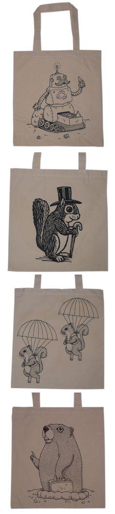 Mis Nopales Art, Tote Bag Artwork by Jose Pulido, Humorous Creature Comfort Bags