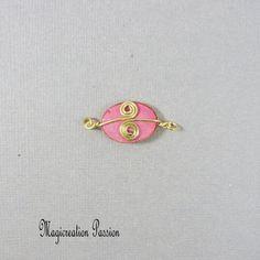 Connecteur cabochon soie rose et doré Arabesque, Stud Earrings, Cabochons, Montage, Enamel, Boutique, Accessories, Jewelry, Pink Silk
