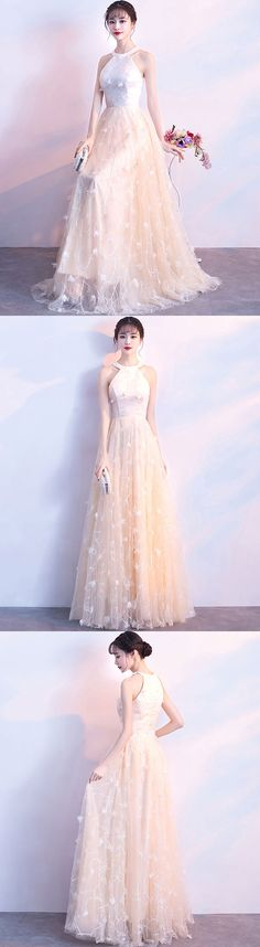 champagne long prom dress, evening dress