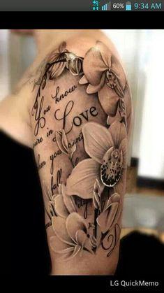 50 Elegant Half Tattoo Designs and Ideas - Beste Tattoo Ideen Tattoos For Women Half Sleeve, Best Sleeve Tattoos, Tattoo Sleeve Designs, Flower Tattoo Designs, Tattoo Designs For Women, Female Tattoo Sleeve, Tattoo Flowers, Lily Tattoo Design, Girly Sleeve Tattoo