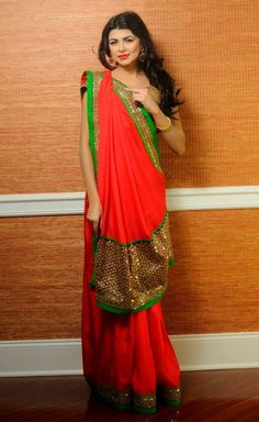 Tomato Red Saree with Embroidered Work from Nithasha Trends