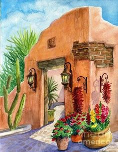 Cactus Painting - Tia Rosa Time by Marilyn Smith Mexican Artwork, Mexican Paintings, Mexican Folk Art, Southwestern Paintings, Southwestern Art, Inspiration Art, Art Inspo, Mexican Colors, Cactus Art