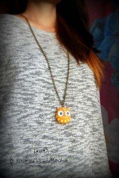Orange owl head necklace. Handmade.