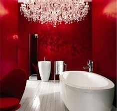 Love the chandelier, modern sink & tub! Red walls a bit much for me personally, but add a dramatic look to the room. Bathroom Red, Dream Bathrooms, Beautiful Bathrooms, Bathroom Interior, Modern Bathroom, Master Bathroom, Luxury Bathrooms, Minimalist Bathroom, Laufen Bathrooms