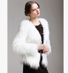 Womens White Faux Fur Parka Fashion Long Sleeves Warm Outwear Jacket Coats A486