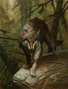 Zendikar Wolf Token by Daren Bader Magic the Gathering card art Nuestros guerreros Rpg Wallpaper, Rpg Dice, Illustrator, Character Art, Character Design, Fantasy Wolf, Anime Wolf, Magical Creatures, Fantasy Artwork