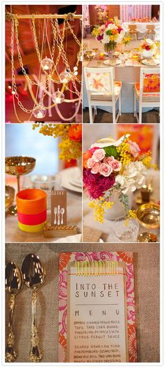 Pair bright pinks, oranges and yellows with gold!  #wedding