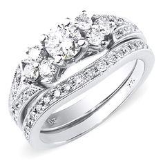 Intricate+14K+White+Gold+Diamond+Engagement+Ring+Set+1.00ctw