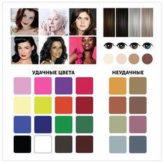 """3. Яркая «зима» Это предельно холодный контраст во внешности — в цвете волос и кожи. Минимальное присутствие примеси серого в цвете. Цветотип """"Зима"""" Ваша кожа: как правило, достаточно плотная и ровная с прозрачно-голубоватым оттенком. Коричневато-оливковая, розоватая, оливковая, бежевая, пепельно-коричневая, фарфоровая, бело-бежевая. Веснушки появляются крайне редко."""