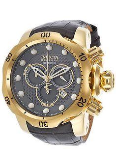 New Mens Invicta 15464 Reserve Venom Swiss Chronograph Leather Strap Watch