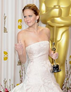 Jennifer Lawrence. i absolutely LOVE her spunk and humor. she is one of my all-time favorite people in hollywood.