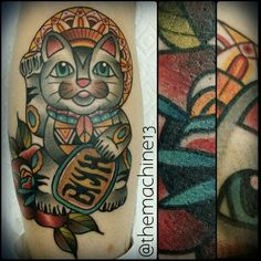 Traditional Japanese Lucky cat tattoo by Zack Taylor at Evermore Tattoo Company in Los Angeles, CA