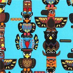 turquoise Indian totem pole animal fabric Indian Totem USA 1
