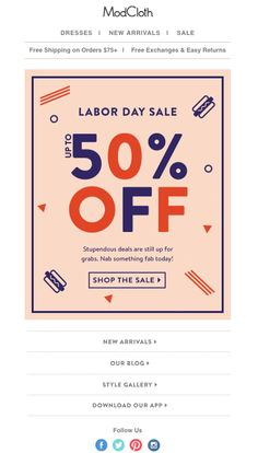 The best emails of Labor Day weekend 2016 - Sales Email - Ideas of Sales Email Campaign Signs, Email Campaign, Holiday Emails, Holiday Sales, Sale Banner, Banner Gif, Sale Emails, Email Design Inspiration, Email Marketing Design
