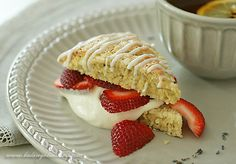 Lemon Lavender Scones with Clotted Cream and Berries