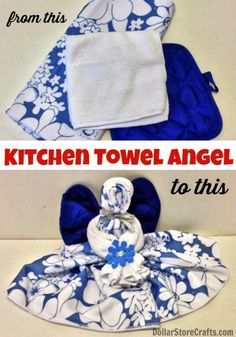 Make a kitchen towel angel from dollar store stuff - dollarstorecrafts.com
