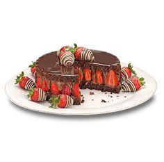 Massa cookie recheada com mousse de chocolate meio amargo e morangos, com cobertura de chocolate meio amargo com leve sabor de conhaque, decorada com morangos cobertos com chocolates ao leite e branco.