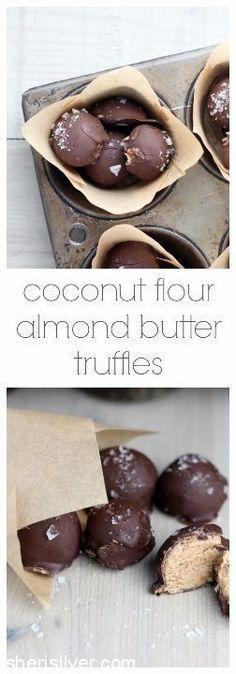 Coconut flour almond butter truffles. Vegan (watch chocolate used). Gluten-free.