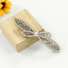 $3.89 Ladylike Elegant Style Rhinestone Embellished Bowknot Shape Hairpin For Women
